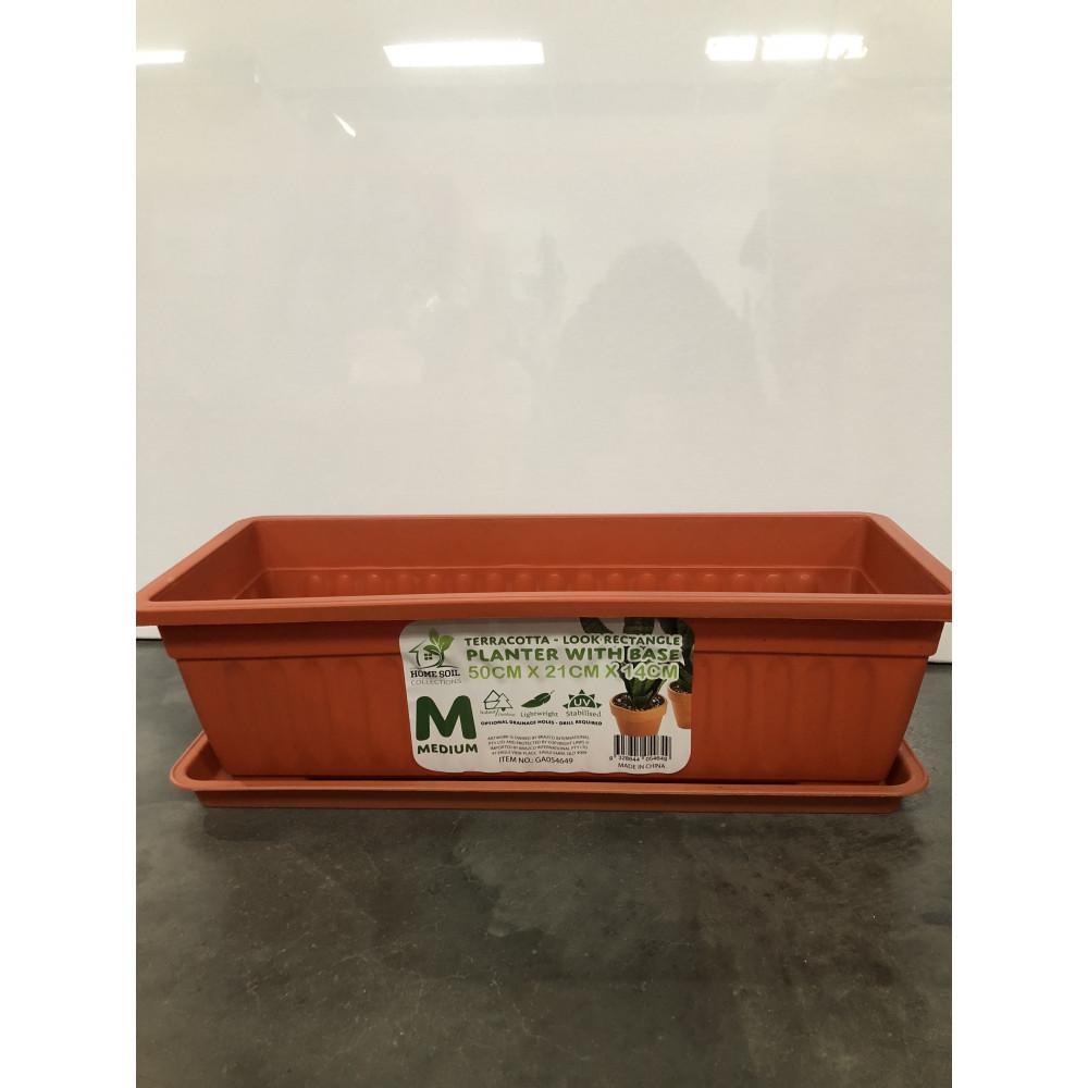 Planter Rect w/base 50x21x14cm