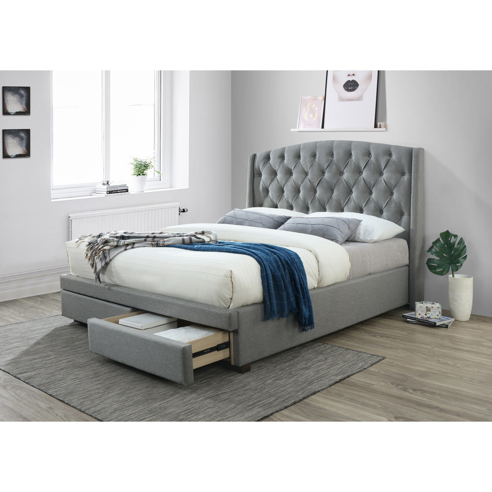 LARA KING BED WITH 2 DRAWS