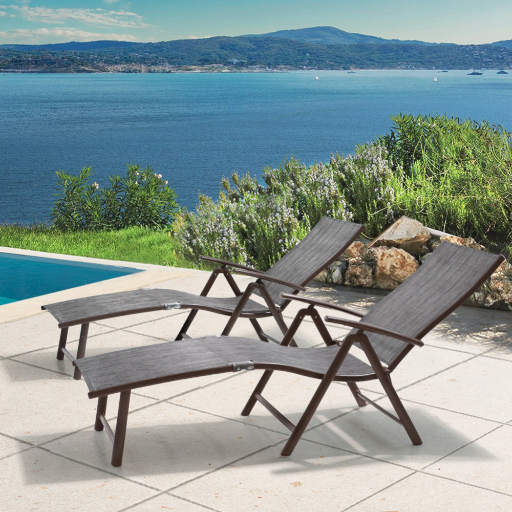 All Weather Aluminum Patio Lounge Chair 2 PCS