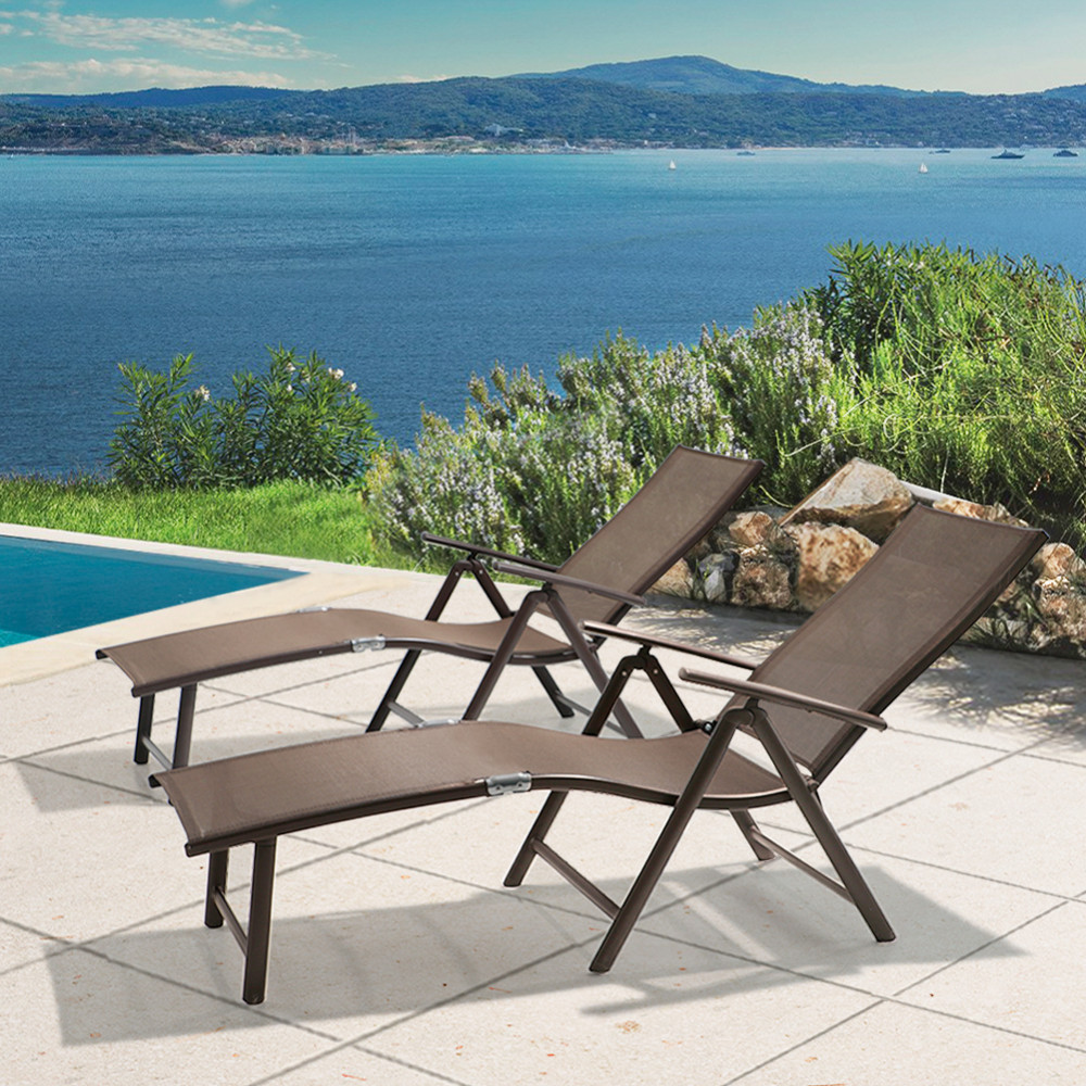 Adjustable Aluminum Patio Lounge Chair 2PC