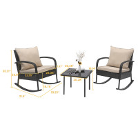 3 Piece Rattan Rocking Chair with Tea-table